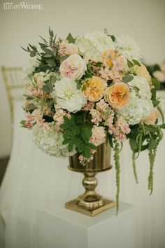 Hydrangeas wedding decor, gold vase, wedding flowers and decor WHIMSICAL SUMMER WEDDING IN ONTARIO www.elegantwedding.ca