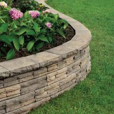 Charcoal/Tan Flagstone Concrete Retaining Wall   The Home Depot
