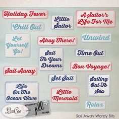 Sail Away Wordy Bits - 16 fun wordy bits to add that finishing touch to your summer & vacation layouts!   Created to coordinate with the Sail Away Collection Collaboration by LouCee Creations & Created by Jill Scraps #createdbyjill #theStudio #digiscrap #digitalscrapbooking #scrapbooking #loucee