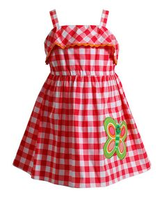Love this Coral Gingham Butterfly Appliqué Dress - Infant, Toddler & Girls by Youngland on #zulily! #zulilyfinds