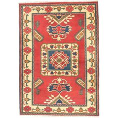 ecarpetgallery Finest Kargahi Red/ Yellow Wool Rug (3'5 x 4'11) - Overstock Shopping - Great Deals on Ecarpetgallery 3x5 - 4x6 Rugs