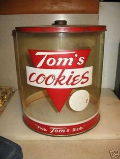Original Vintage Tom S Peanuts Display Wood Wooden Cabinet