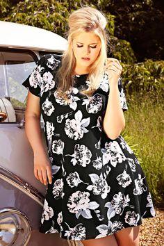 Black & Pink Soft Rose Print Textured Swing Dress