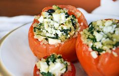 We're celebrating with Spinach and Quinoa Stuffed Tomatoes. - Packed with quinoa, spinach and feta cheese, these healthy stuffed tomatoes are a delicious, wholesome meal. Get the recipe here. Quinoa Recipes Easy, Healthy Dinner Recipes, Vegan Recipes, Vegetarian Entrees, Top Recipes, Healthy Dinners, Vegan Dinners, Vegetable Recipes, Vegan Food