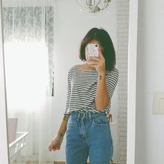 High waisted trousers and stripy loose top