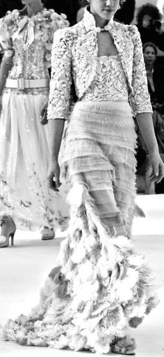 Chanel Couture at Spring 2006 - {stunning black & white photograph on the runway}