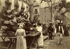 Barcelona (1907-1908). Frederic Ballell: Rambla de San José. Venta de flores frente al Palacio de la Virreina.