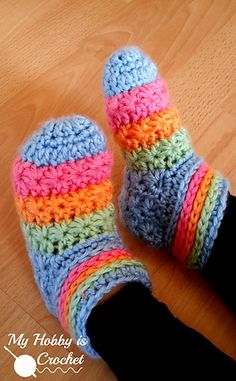 "The ""Starlight Toddler Slippers"" are made using a variation of the star stitch. They look adorable in rainbow colors, but you could choose to crochet them using one solid color or as many colors as you wish."