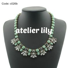 Mint Green Glass bead acrylic statement necklace party short by AtelierLily, $24.99 (buy 2 and get 1 free!)