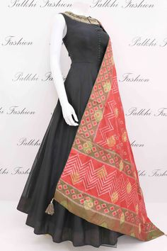 Black Soft Silk Outfit with Gorgeous Patola Style Dupatta From Palkhi Fashion Indian Fashion Dresses, Indian Gowns Dresses, Dress Indian Style, Indian Designer Outfits, Indian Outfits, Indian Wear, Long Dresses, Designer Anarkali Dresses, Designer Party Dresses
