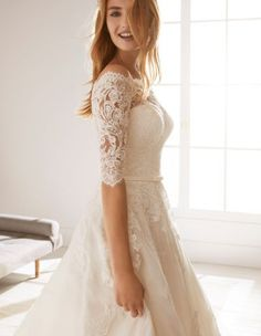 Ossa is a classic lace bridal gown from the White One collection, with an elegant off the shoulder neckline, length sleeves and a full princess skirt. Wedding Dresses 2018, Luxury Wedding Dress, Classic Wedding Dress, Princess Wedding Dresses, White Wedding Dresses, Bridal Dresses, Bridesmaid Dresses, Wedding Lace, Wedding White