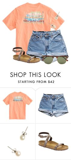 """""""What is your fav outfit you own?"""" by flroasburn ❤ liked on Polyvore featuring Levi's, J.Crew, Birkenstock and Ray-Ban"""