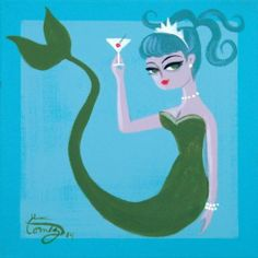 El Gato Gomez Painting Retro 50s Mid Century Modern Pin Up Girl Mermaid Martini ~♛