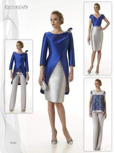 Modelo GOGO Vestido+casaca color mikado seda.  Puede hacerse la combinación en pantalon