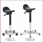 Occufit Scoop Sit-Stand Stools. Industrial stools that Supports user's weight whilst allowing working at almost standing height.  Occufit Scoop Sit-Stand Stools have a soft plyurethane angle adjustable seat as standard.