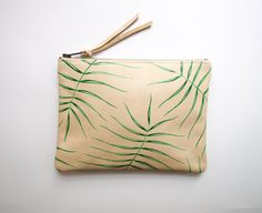 Wild Fern Leather Zipper Clutch by kertis on Etsy Leather Interior, Natural Linen, Ferns, Leather Clutch, Italian Leather, Zipper, Fern Gully, Pattern, Handmade