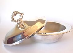 Vintage Silver Serving Bowl with Ornate Lid  FB Rogers Silver  by HouseofLucien