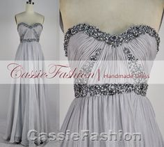 2014 Prom Dress, Strapless Sweetheart With Crystal Bead Draped Chiffon Prom Dresses, Evening Gown, Evening Dresses,Formal Dresses on Etsy, $159.00