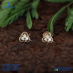 Gold 916 Premium Design Get in touch with us on Real Diamond Earrings, Gold Jhumka Earrings, Solitaire Earrings, Diamond Earing, Gold Earrings Designs, Gold Jewellery Design, Diamond Bangle, Gold Jewelry, Baby Earrings