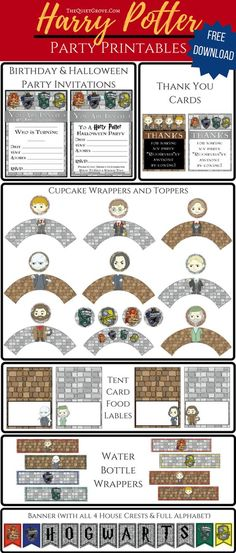 FREE Illustrated Harry Potter Party Printable Package