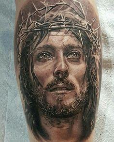 Jesus Tattoos - Tons of Jesus Tattoo Designs & Ideas - Tattoo Me Now Tattoos 3d, Tattoo Henna, Body Art Tattoos, Sleeve Tattoos, Jesus Tattoo Sleeve, Tattoo Girls, Girl Tattoos, Tattoos For Guys, Jesus Christ Images
