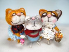 """ADOPT A Kitty CAT Needle Felted Cat """"Callie Coe"""" Wool & Angora Cat By Barby"""