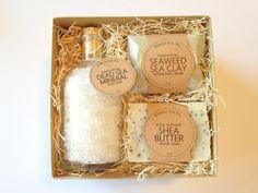 "Salt Bath Spa Kit | Baby Shower Hostess Gift Set | 6""x6""x3"" Box | 4 oz Soap Bar | 1 oz Mask | Bridesmaids Thank You Wedding Mother's Day"