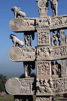 Gateways and modifications at the Great Stupa, Sanchi Madhya Pradesh were added in century CE Buddhist Architecture, Indian Temple Architecture, India Architecture, Ancient Architecture, Gothic Architecture, Buddhist Symbols, Buddhist Art, Great Stupa At Sanchi, The Great Stupa
