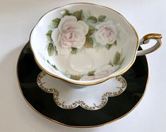 "Queen's Tea Cups & Saucers ""Ebony"" Rosina"