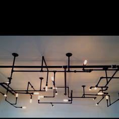 Cool light fixture in meeting room.