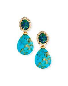 P9060 Rina Limor Signature Turquoise & Opal Drop Earrings with Diamonds