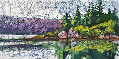 Reflections 12 x 24 in watercolor on rice paper by Krista Hasson