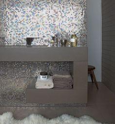 glanzend mozaiek in combi met matte strakke design wastafelmeubel!