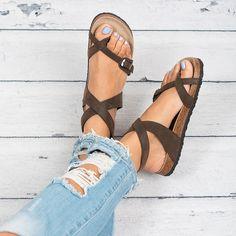 Lace Up Footbed Sandals - Black