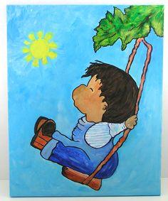 Cuadro infantil. Pintado en acrílico sobre lienzo. 40 x 50 cms