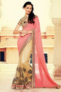 Buy online cream and pink colored net and georgette designer partywear saree. This beautiful designer partywear saree is enriched with embroidered and lace. Shop online indian attire at lowest price. Indian Designer Sarees, Indian Sarees Online, Latest Designer Sarees, Net Saree, Georgette Sarees, Silk Sarees, Mode Bollywood, Bollywood Fashion, Designer Sarees Collection