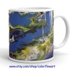 Fluid Pour Mug, Coffee Mug, Blue Mugs, Abstract art mug, Blue  Cuphttps://www.etsy.com/shop/ColorFlowArt