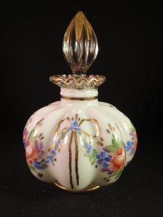 Vintage Fenton ART Glass Hand Decorated Charleton Crystal Crest Perfume Bottle | eBay