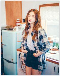 All Korean Fashion items up to 70% OFF! chuu - Tab-Sleeve Check #Shirt #koreanfashion