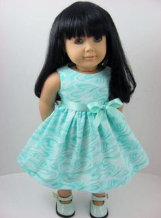 Aqua Blue Doll Dress and Sash for the American Girl Doll