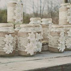 Burlap and lace mason white flowers jars diy with pearls - wedding crafts, homemade mason jars