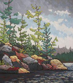"Jennifer Woodburn - ""The Gathering"" looks like a MN Lake Landscape Quilts, Landscape Art, Art And Illustration, Impressionist Paintings, Indigenous Art, Paintings I Love, Naive Art, Painting Inspiration, Color Inspiration"