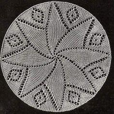 Yarn Over Lace Knitting Pattern: France - Doily B Free Doily Patterns, Crochet Thread Patterns, Lace Knitting Stitches, Dishcloth Knitting Patterns, Knit Dishcloth, Knitting Designs, Knitting Projects, Dress Patterns, Free Pattern