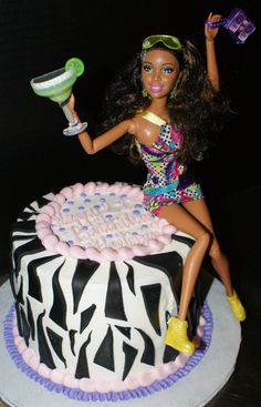 Barbie- 21st Birthday Cake! This one is way cuter than the blonde passed out version