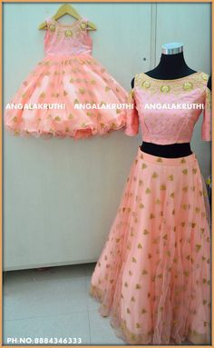 #Mother and daughter matching dress designs by Angalakruthi boutique Bangalore Watsapp:8884346333  Mom n me desings with Rich hand Embroidery #same dress designs