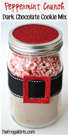 Peppermint Crunch Dark Chocolate Cookie Mix in a Jar! ~ from TheFrugalGirls.com ~ this is such a fun mason jar gift to give, and the cookies taste INCREDIBLE!!  #Christmas #cookiemix #thefrugalgirls