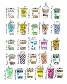Great reference for drawing some coffee love in my Filofax.      (c) 2014 Starbucks LOVE.  Print available for only $15.50.  :):
