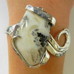 Silver Lace Onyx Hammered Silver Fork Cuff Bracelet by BuildaStack, $49.99
