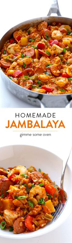 Learn how to make homemade jambalaya with this delicious (and easy!) recipeLearn how to make homemade jambalaya with this delicious (and easy! Cajun Recipes, Seafood Recipes, New Recipes, Dinner Recipes, Cooking Recipes, Favorite Recipes, Healthy Recipes, Sausage Recipes, Cajun Food