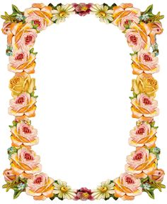 Free digital vintage flower frame: peach colored - Blumenrahmen - freebie | MeinLilaPark – DIY printables and downloads